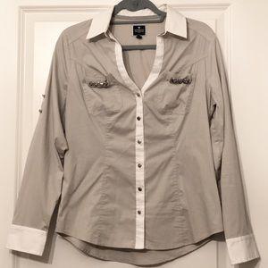 Express Tops - NWOT Express Light Gray Button-Down Blouse, Size M